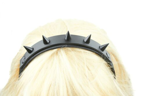 Cone Spikes Genuine Leather  Top Hair Headband Gothic Cosplay Harley Quinn