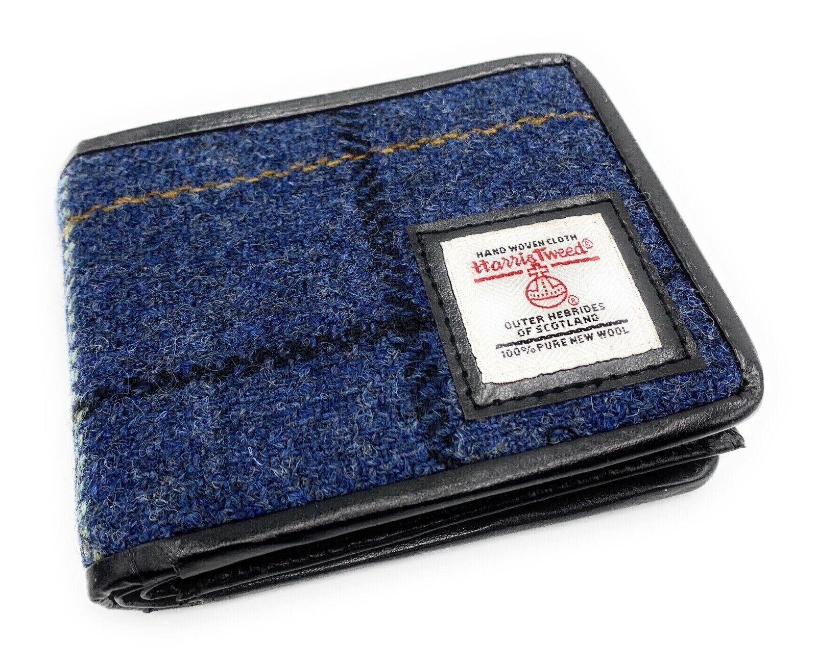 Mens Harris Tweed Trifold Wallet Blue Overcheck