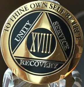 13 Year AA Medallion Black Gold Plated Bi-Plate Alcoholics Anonymous Chip Coin