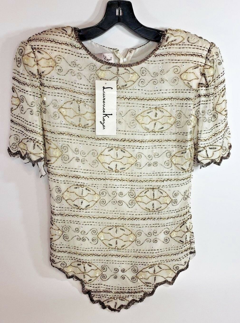 Laurence Kazar 100% Silk Ivory & Gold Pearl Beaded Top Blouse Sz Small New Tags