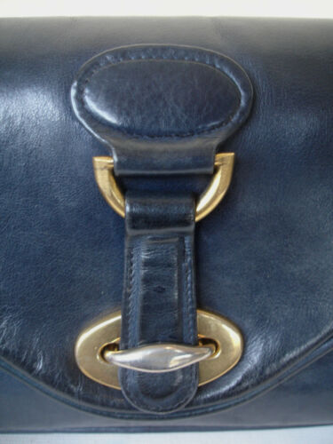 Pochette Ttbe Petit Beau Sac Bleu Vintage Cuir Marine Souple xn8xwARr