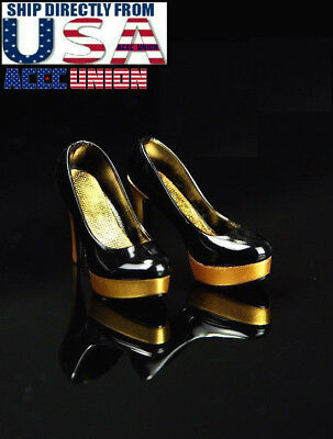 """Gold 1//6 Female High Heel Pumps Shoes For Phicen Kumik Hot Toys 12/"""" Figure"""