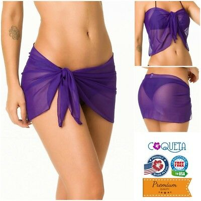 Coqueta Women Mini Mesh Wrap Purple Cover up Swimwear Beach Pareo Sarong Fashion