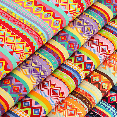 Cotton Fabric FQ - Ethnic Tribal Folk Tribe Square Triangle Geometric Stripe VR3