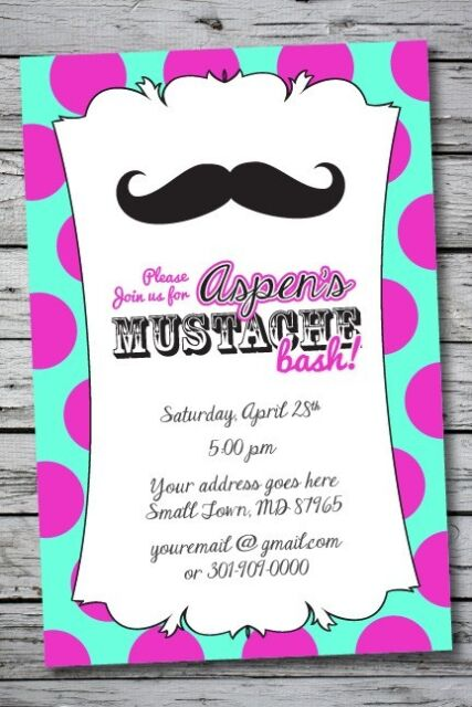 MUSTACHE Printable Birthday Party Invitation File Photo Girl Print Sweet 16 DIY