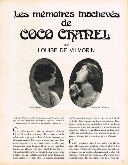 COUPURE DE PRESSE  1971   COCO CHANEL  par LOUISE DE VILMORIN   ( 3P )  020813