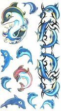 Blue Dolphin and Shark Child Temporary Body Art  Sea Kids Fake Tattoo Stickers