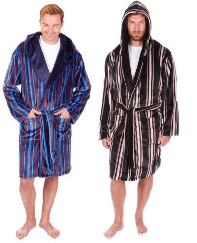 Mens Luxury Dressing Gown Striped Bathrobe Robe