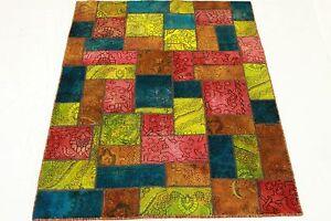 Patchwork-Orient-Tapis-Vintage-200x150-rouge-rose-bleu-Used-Look-handmade-1976