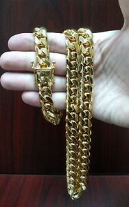 26-034-14K-Gold-Finish-Sterling-Silver-Miami-Cuban-Link-Chain-13-mm-230-grams