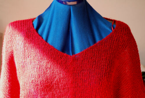larga Thread Sz Lurex Top Natale Metallic Red Batwing 10 maglia New Top maglione w0qvXCq