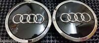 Audi 4 Pcs Wheel Center Cap Black Chrome Logo 70 Mm 4b0601170a