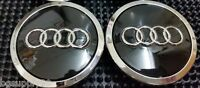 Audi 4 Pcs Wheel Center Cap Black Chrome Logo 70 Mm 4b0601170a