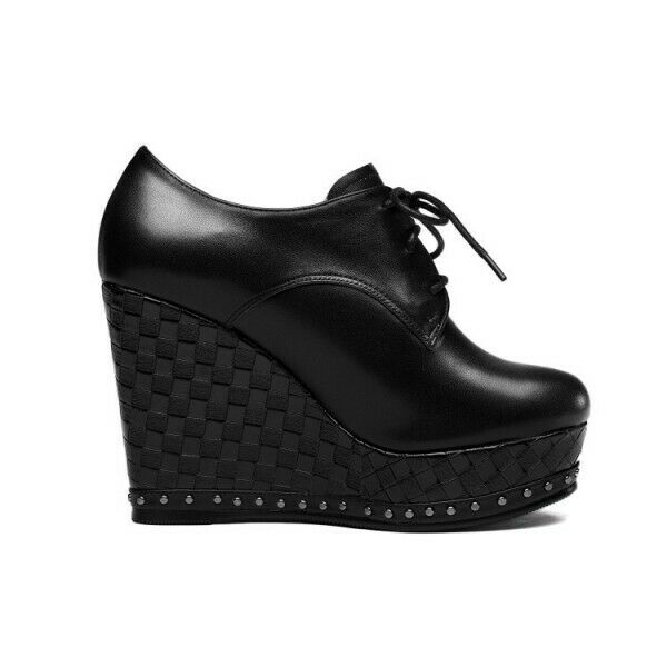 Rivet Decor Platform Lace Up Round Toe High Wedge Wedge Wedge Heel Pumps Womens shoes  Party 9340fa