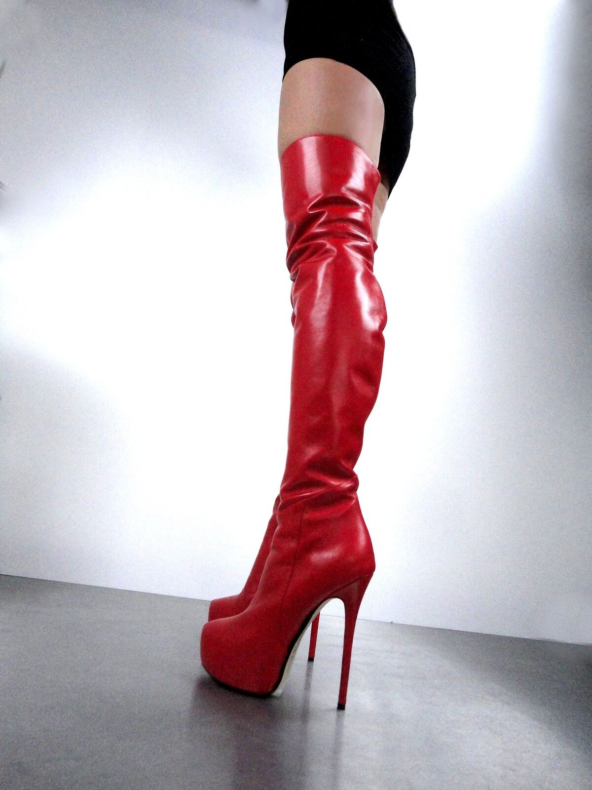 CQ CQ CQ COUTURE OVERKNEE CUSTOM PLATFORM BOOTS STIEFEL STIEFEL LEATHER ROT 37 1891d5