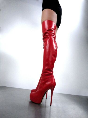 41 Leather Red Overknee Stiefel Ck Rosso Stivali Stivaletti Custom Couture PzATY