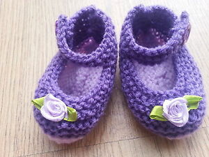 Hand Knitted Purple with Lilac sole Baby Shoes 03  36 or Reborn - Girvan, United Kingdom - Hand Knitted Purple with Lilac sole Baby Shoes 03  36 or Reborn - Girvan, United Kingdom