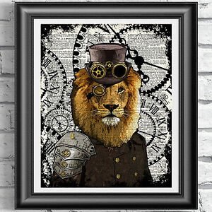 Lion-Steampunk-Print-Vintage-Dictionary-Page-Wall-Art-Picture-Animal-Top-Hat