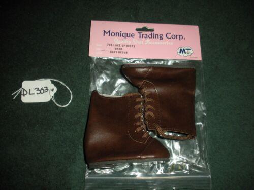 3 Pair Monique 796 Dark Brown Lace Up Doll Boots With Black Soles Sz 85MM  DL303