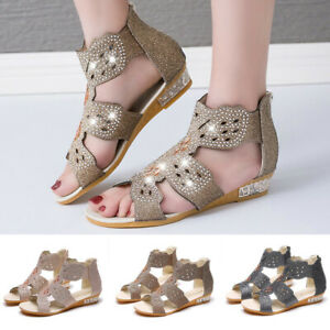 Summer-Women-039-s-Ladies-Wedge-Sandals-Crystal-Bling-Hollow-Out-Roman-Shoes-Size