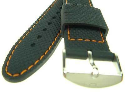 24mm Black Silicone Rubber Orange Stitch Watch Strap Band WC1209