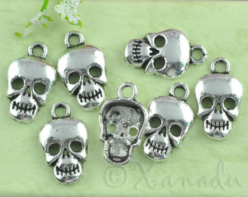 50 Or 100PCs Wholesale Halloween Pendant Findings C7782-20 Skull Charms