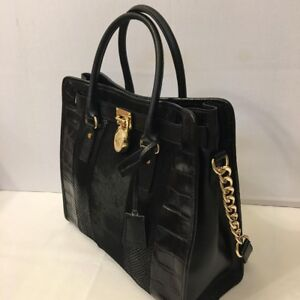 Details about Michael Kors Hamilton Satchel Bag with Gold Chain Black