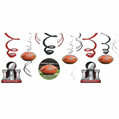 12 Super Bowl LI 51 Houston NFL Football Party Decoration Swirl Dangling Cutouts