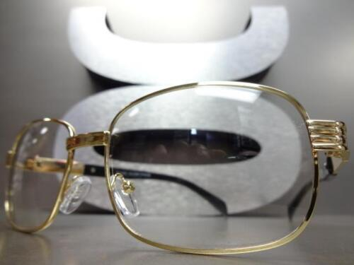 CLASSIC VINTAGE RETRO Style Clear Lens EYE GLASSES Gold /& Black Fashion Frame