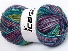 Harmony Wool #46388 Ice Yarn 100 gr Worsted Wool Acrylic 174ys Turquoise Purple