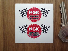 "NGK Spark Plugs Chequered Flag Style Car or Bike STICKERS 2"" Pair Race Racing"