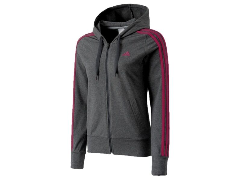 Adidas  Women's Grey & Pink Fitted Zip Thru Hooded Sweatshirt Top BNWT  the most fashionable