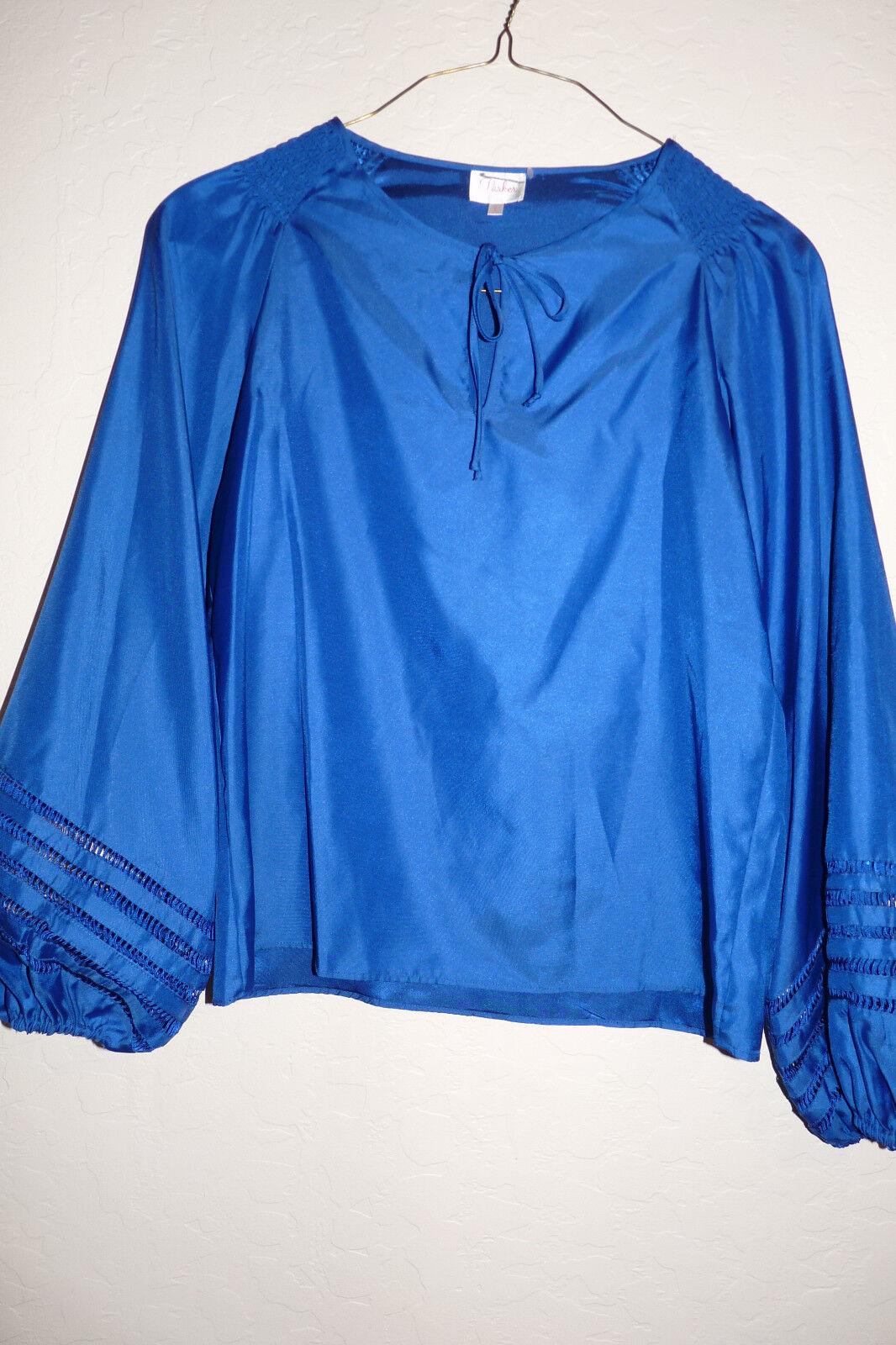 PARKER royal Blau cut-out wide sleeve long blouse top Sz L NEW