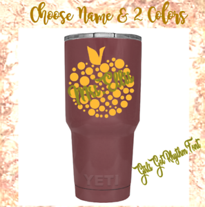Cups Personalized  Name Monogram  Vinyl Decal Teacher Apple For Your Tumbler