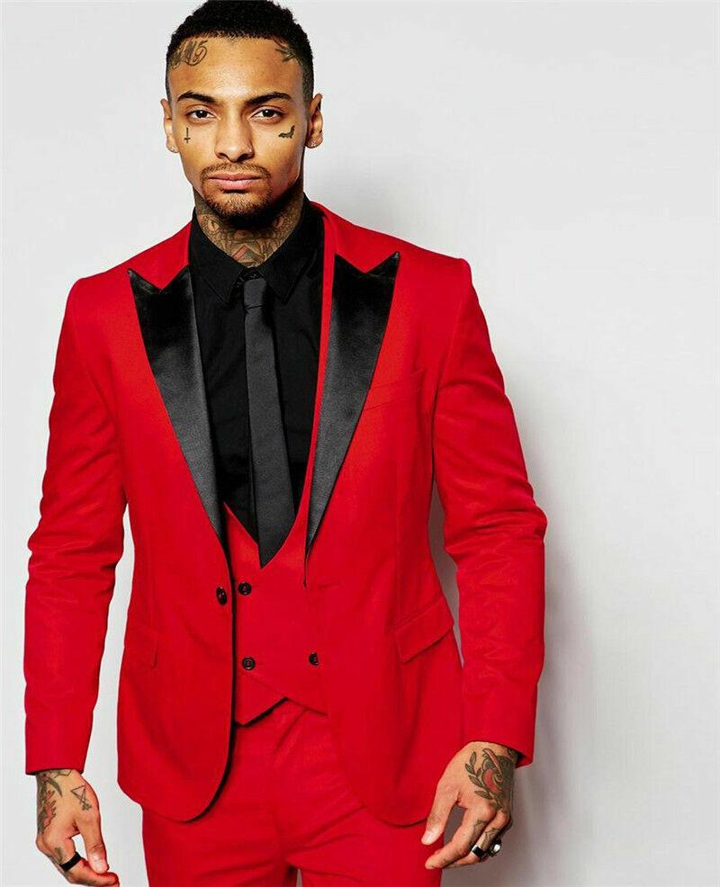 Esmoquin de Baile de Graduación Fiesta  Formal Novio Rojo 3 Piezas Negro Solapa Delgado trajes de boda para hombre  diseño único