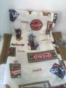 VINTAGE-COCA-COLA-COKE-POLYESTER-SHOWER-CURTAIN-W-COCA-COLA-11-HOOKS