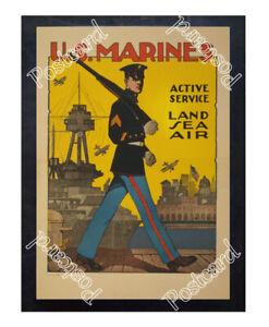 Historic-WWI-Recrutiment-Poster-U-S-Marines-active-service-Postcard