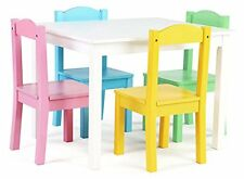 Tot Tutors Kids Wood Table and 4 Chairs Set White/Pastel Pastel Collection