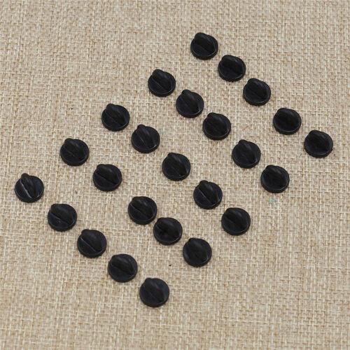25X Black//Yellow Rubber Pin Back Holder Badge Lapel Pin Tie Tacks Jewelry Craft
