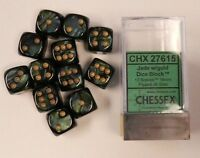 Chessex Dice D6 Sets 16mm Jade W/ Gold Pips Six Sided Die 12 Sets Chx 27615
