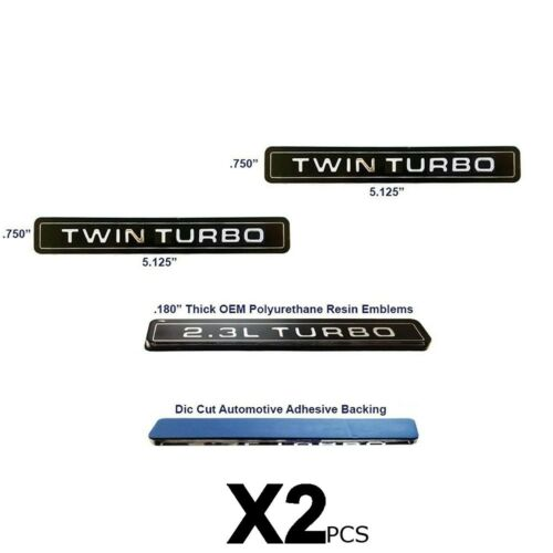 NEW Twin Turbo Interceptor Style Emblem Polyurethane Resin Emblems OE 2pc Set