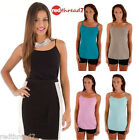 Womens Cami Singlet Stretch Tank Tshirt Tee Camisole Work Top Black White Cotton