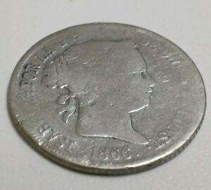 Spain-40-Centimos-silver-1866-Queen-Isabel