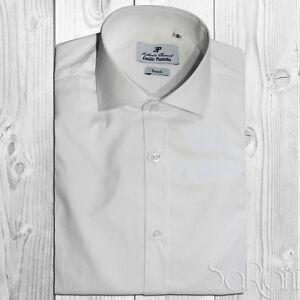 Camisa Casual Hombre Básico Algodón Color Liso en Blanco Manga Larga Slim Fit