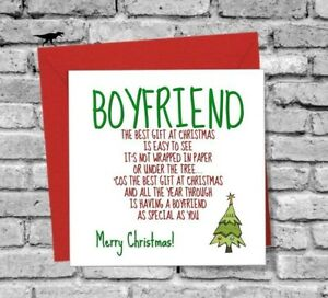 Merry Christmas Best Gift Boyfriend Greetings Card Funny Love Family