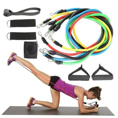 11Pcs Set Resistance Bands Workout Exercise Crossfit Fitness Yoga Training Tubes