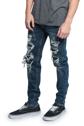 Men/'s Washed Ripped Distressed Denim Pants Layered Thigh Hole Jeans   DL1189-V3C