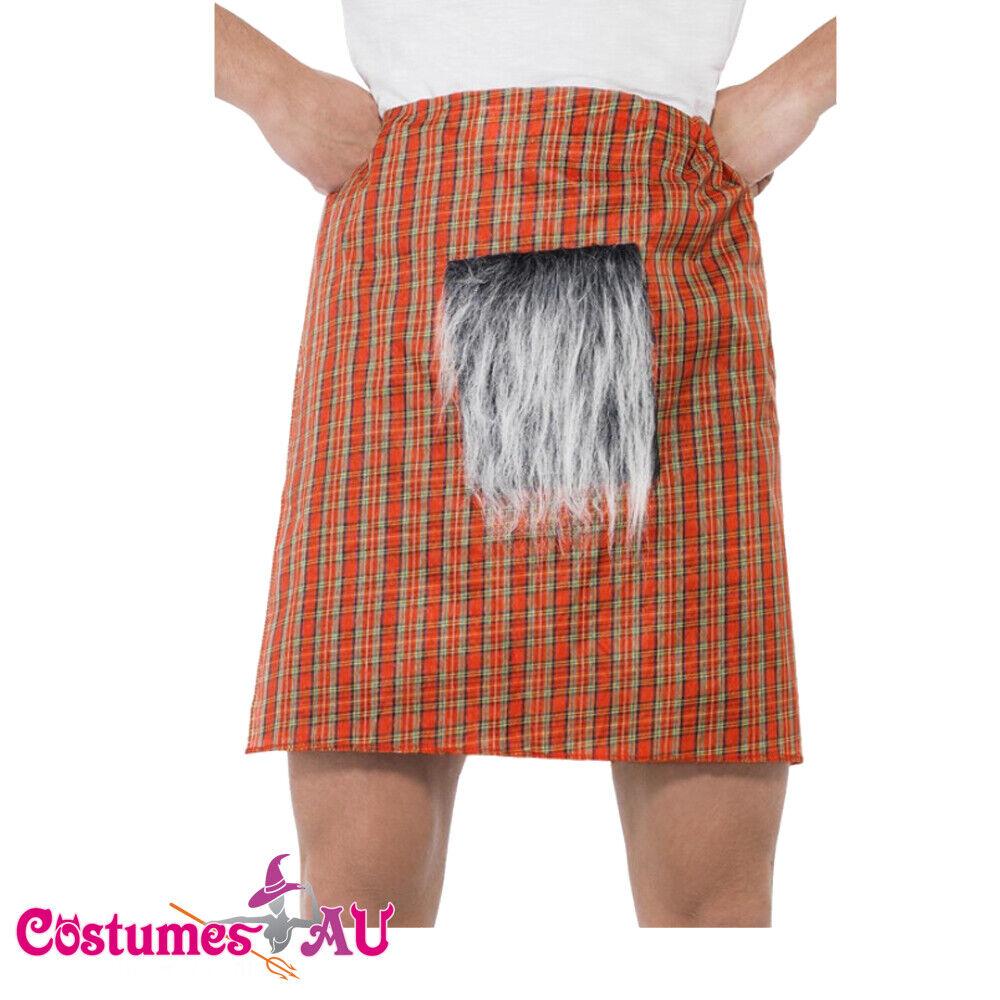 Mens Red Tartan Kilt Sporran Scottish Highlander Skirt Dress Costume Accessory
