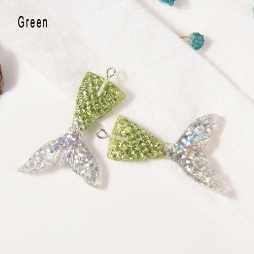 10X Mixed Glitter Mermaid Fish Tail Charm Resin Pendant Fit Bracelet//Necklace KI