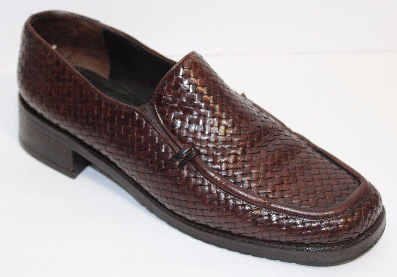 Mezlan Damenschuhe Größe 9.5 M  Braun Woven Leder Moc Toe Slip on Schuhe Made in Spain